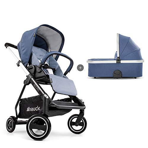 Hauck Apollo Duoset Sportwagen + Beindecke + Babywanne, drehbar, bis 25 kg, Reflektoren, höhenverstellbarer Schiebegriff, kompakt faltbar, kompatibel mit Babyschale, schwarz denim/denim