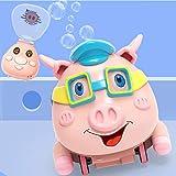 Máquina de burbujas, máquina de burbujas eléctrica con control remoto y música brillante para caminar, adecuada para lindos cerdos de niños, regalos de cumpleaños en interiores y exteriores