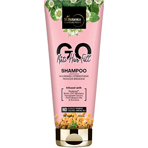 StBotanica GO Anti-Hair Fall Hair Shampoo - With Redensyl, Biotin, Natural DHT Blockers, No SLS/Sulphate, Paraben, Silicones, Colors, 200ml