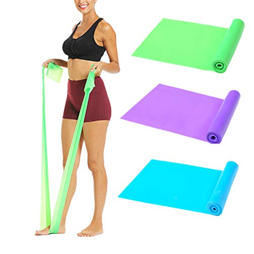 Aiyuda Resistance Bands 3 Pack 5 ft. Long Elastic Exercise Stretching Strap for Physical Therapy, Rehab, Yoga, Pilates, Strength Training, Home Workout (Green/Purple/Blue)