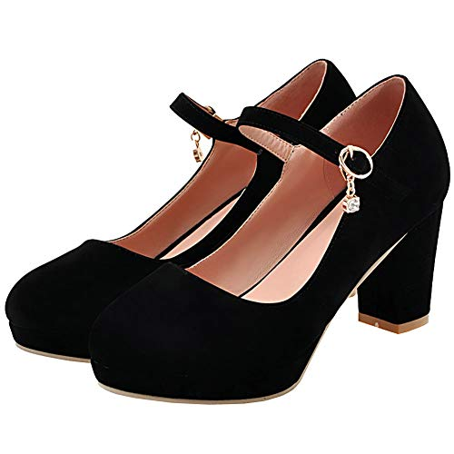 AIMODOR Damen Mary Jane Plateau Schuhe Blockabsatz High Heels Klassisch Pumps Rockabilly Riemchen Absatz schwarz 39