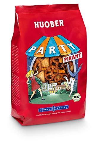 "HUOBER Bio Party pikant, Salzgebäck Mix mit Mini Brezeln, Sesam-Cracker und Mohn-""Knabberle"", 200 g"