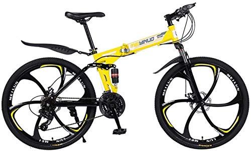 WCY 26in 24 de Velocidad de Bicicletas de montaña por Edad, Estructura de suspensión de Aluminio Ligero Completo, Suspensión Tenedor, Freno de Disco, Amarillo, D 5-27 yqaae
