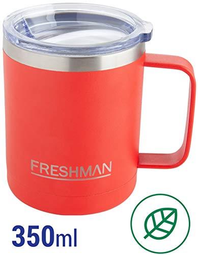 FRESHMAN doppelwandiger Vakuum-Thermobecher | Isolierbecher | Kaffeebecher to go aus 18/8 Edelstahl mit Deckel und Griff | Coffee to go Becher mit Henkel | Kaffeetasse groß 350 ml | XXL Thermotasse