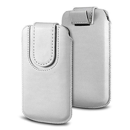 N4U Online Various Farbig Magnetisch PU Leder Zug Kippen Tab Schutzhüllen Tasche für Doogee F3 4G LTE - Weiß