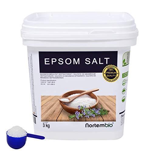 Epsom Salz NortemBio 3 Kg. Konzentrierte Magnesiumquelle, 100{d2178377759130c0c5c4dc283f2e8e113e7fcbc0c83abb2fa337dad9aeffaec6} Natürliches Salz. Bad und Körperpflege. E-Book Inklusiv.