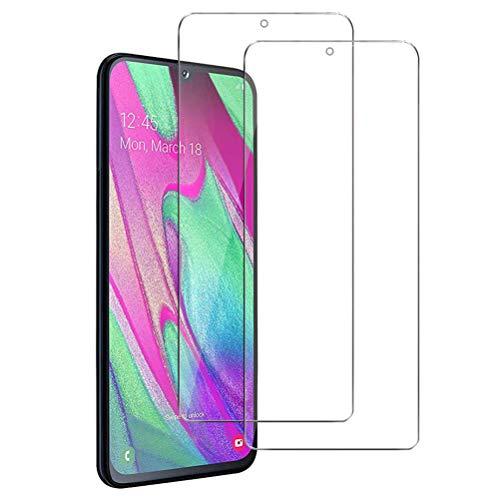 Mkej Vetro Temperato Samsung Galaxy A40 Pellicola, [2 Pezzi] HD Alta Trasparenza Senza Bolla Pellicola Protettiva di Vetro, Screen Protector [Resistenza ai Graffi] 3D Copertura Vetro Protettivo