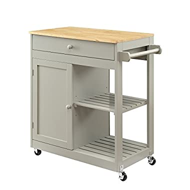 Oliver and Smith - Nashville Collection - Mobile Kitchen Island Cart on Wheels - Wooden Grey - Natural Oak Butcher Block - 30  W x 17  L x 36  H