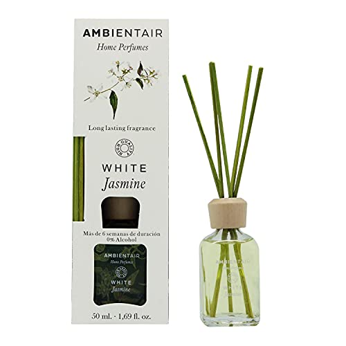 Ambientair Home Perfumes. Difusor de Varillas perfumadas. Ambientador Mikado White Jasmine, Difusor 50 ml con palitos de ratán. Ambientador sin Alcohol para casa.