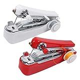 EXCEART 2 Piezas Mini Máquina de Coser de Mano Mini Máquina de Coser Inalámbrica Portátil para Tela Ropa Tela para Niños Uso de Viajes en Casa Rojo Y Blanco