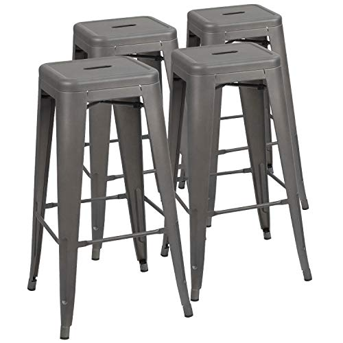 Devoko Metal Bar Stool 30' Tolix Style Indoor/Outdoor Barstool Modern Industrial Backless Light Weight Bar Stools with Square Seat Set of 4 (Grey)
