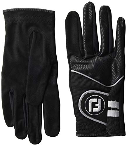 FootJoy Men's RainGrip Pair Golf Glove Black Cadet Large, Pair