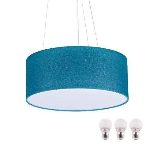 sebson Hängelampe türkis Textil, inkl. E27 LED Lampe 5W warmweiß, 40cm Durchmesser, Leuchte rund Textilschirm, Hängeleuchte