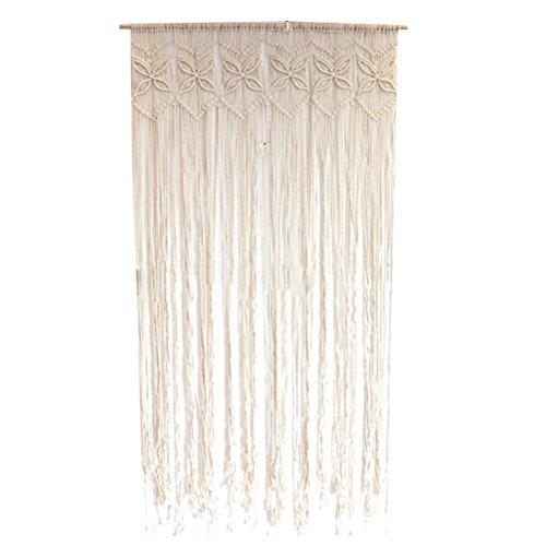 VORCOOL Makramee Wandbehang Vorhang Fadenvorhang Baumwolle für Hochzeit Wohnzimmer Tür Deko (95 x 180cm)