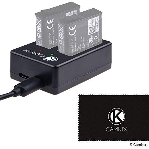 CamKix Dubbele Batterij Lader compatibel met GoPro Hero 7 / 6 / 5 batterijen (AABAT-001) - Laadt snel tot 2 GoPro Hero 7/6/5 batterijen op via USB C of Micro USB - Rode / groene LED-laadstatusindicatoren