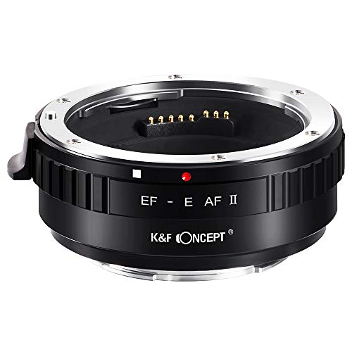 K&F Concept EF-E 電子マウントアダプター Canon EF/EF-Sレンズ-SONY Eカメラ装着 電子接点付き 三脚座付き 1/4ネジ AF機能 手振れ補正 メーカー直営店