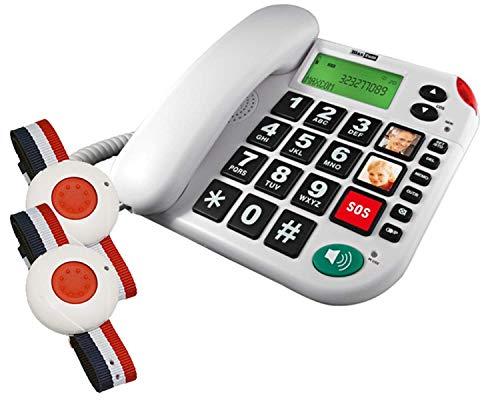 G-TELWARE®in - Teléfono fijo para personas mayores con mando a distancia SOS (4 pilas, adaptador TAE y NFF, 2 años de garantía)