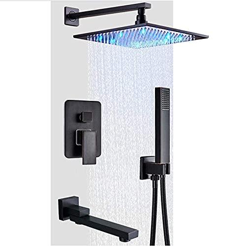 12 pulgadas LED Luz Grifo de ducha Montado en la pared Bronce negro Columna de ducha de lluvia Cabezal de ducha de lluvia de latón Válvula de control de caja integrada