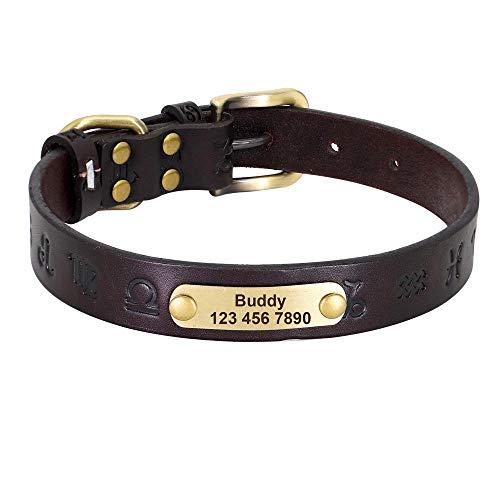 Correa para Mascotas Collar de Cuero para Perros, Collares para Perros Personalizados, Cuero con Hebilla Dorada, Collar de identificación para Mascotas de Pastor alemán para Perros pequeños medianos