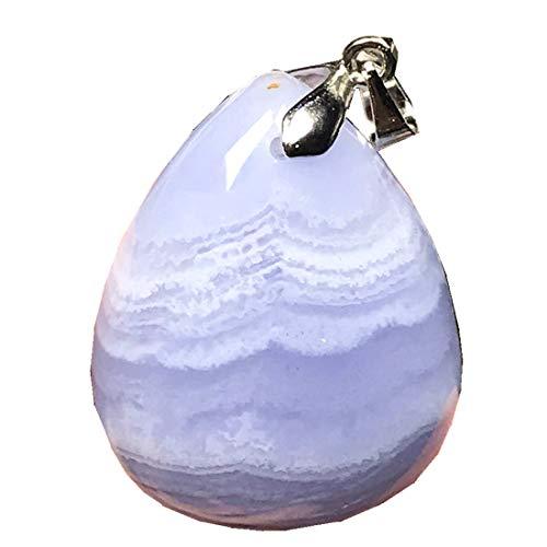 DUOVEKT Colgante de ágata azul natural real para mujeres y hombres, cristal de 28 x 22 x 10 mm, cuentas de gota de agua, piedras preciosas AAAAA
