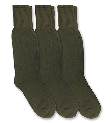 Jefferies Socks Military Combat Uniform Rib Crew Boot Socks 3 Pair Pack (Sock: 10-13/Shoe: 9-12, Olive Green)