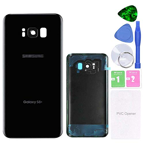 MovTEK Tapa Trasera de Cristal de Batería Trasero Original para Samsung Galaxy S8 Plus S8+ G955F con Lente de Cámara (Negro Medianoche)