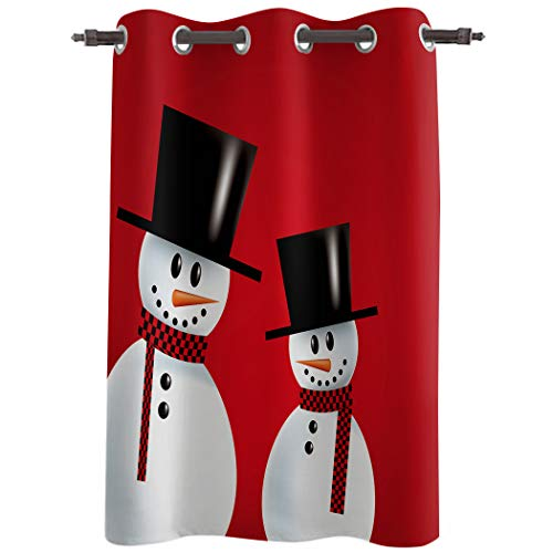 Cortinas oscurecedoras para dormitorio, cortinas opacas para tratamiento de ventana, cortinas aislantes térmicas, con ojales en la parte superior, diseño de muñeco de nieve, fondo rojo, 135 x 215 cm