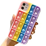 Billion Good Fidget Toy Phone case for iPhone 11 Case Push Pop Bubble Rainbow Soft Case Stress Reliever Cover for Apple iPhone iPhone 11,6.1 Inch - Pink+Purple