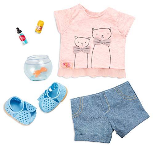 Our Generation - Puppen Outfit T-Shirt Katzenprint mit Goldfisch Glas, BD30429Z, Bunt