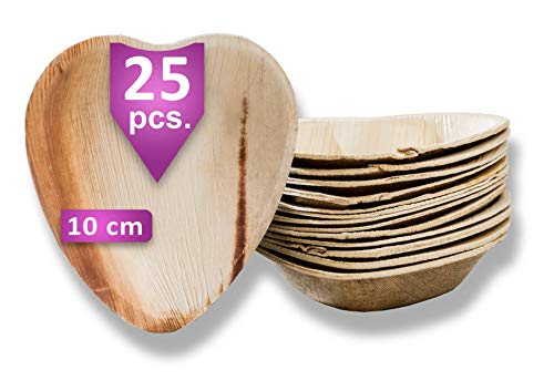 Waipur Assiette Palmier Bio - 25 Assiettes Cœur 10 cm – Vaisselle Jetable de Qualité Supérieure - Stable, Naturelle et Compostable – Assiette Mariage