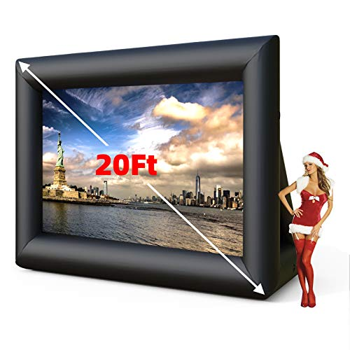 SUNCOO 20ft Inflatable Outdoor Movie Screen, Mega Theater Projection Screen with 350W Blower Strings Stakes & Storage Bag for Backyard Movie Parties Pool Lawn Event, Movie Projector Screen (20FT)