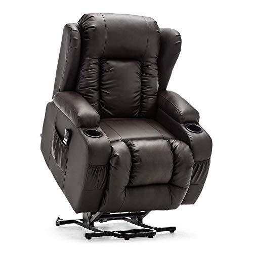 More4Homes CAESAR DUAL MOTOR ELECTRIC RISER RECLINER ARMCHAIR SOFA MOBILITY BONDED LEATHER LIFT CHAIR (Brown)