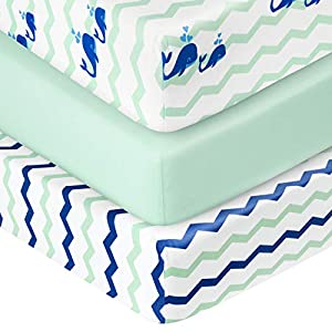 """crib bedding and baby bedding tillyou 3 pack jersey knit stretchy fitted crib sheets set, thicker and softer baby bed sheets for boys girls, breathable and lighweight for toddler mattress up to 8"""" thickness, ocean whale fish"""