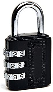 Merriway® BH00407 Combination Padlock with Resettable 3 -Digit Combination, 30 mm (1.1/4 inch) - Black