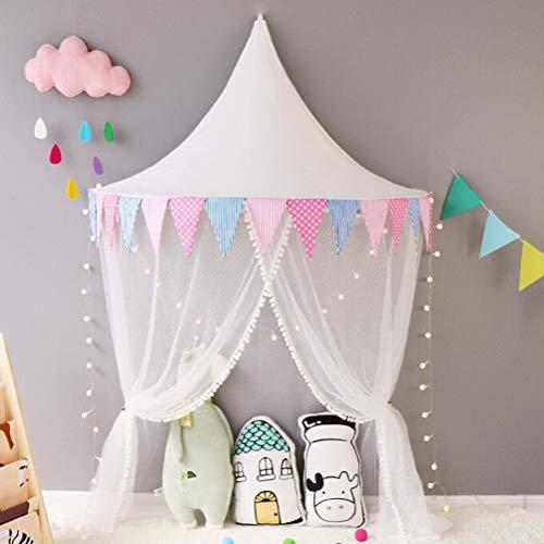 Nlatas Ciels de lit, Lit d'enfant auvent Demi-Lune, moustiquaire en Coton, Tente de Jeu pour Enfants, décoration de Chambre pour bébé,White,1.5m