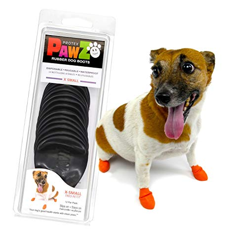PawZ Dog Boots   Rubber Dog Booties   Waterproof Snow Boots for Dogs   Paw Protection for Dogs   12 Dog Shoes per Pack (X-Small)