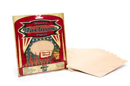 Axtschlag Grillpapier Kirsche, zum schonenden Garen, hält das Gargut saftig, für Grill & Backofen, auch zum Servieren, 8 Wood Papers + Schnur, 190x150x1 mm