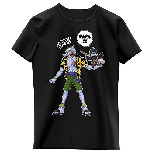 T-Shirt Enfant Fille Noir Parodie Naruto - One Piece - Arlong et Kisame - Papa. WTF !! (T-Shirt Enfant de qualité Premium de Taille 3-4 Ans - imprimé en France)