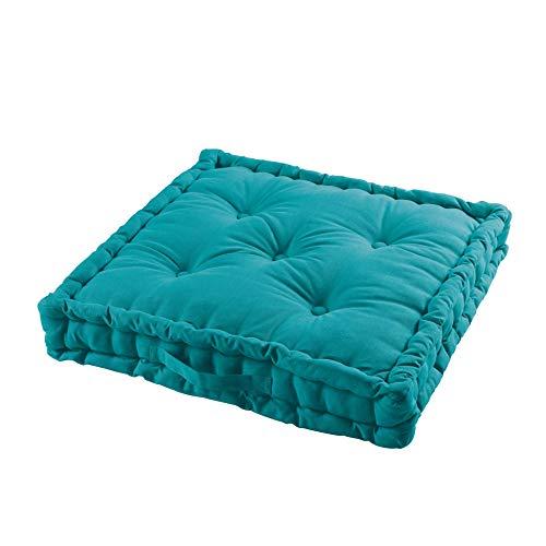 TIENDAEURASIA® Cojines de Suelo - 100% Algodón Lisa - Ideal para sillas, Bancos, palets, Suelos - Uso Interior y Exterior (Azul, 60 x 60 x 10 cm)