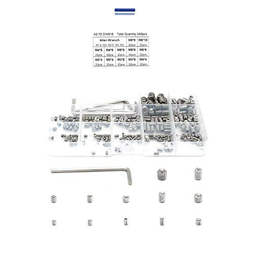 240 piezas M3 M4 M5 M6 M8 acero inoxidable 304 Juego de tornillos hexagonales A2-70 DIN916 M3 3 mm 4 mm 5 mm 6 mm M4 4 mm 5 mm 6 mm M5 5 mm 8 mm 6 mm 10 mm M8 x 8 mm llave Allen.