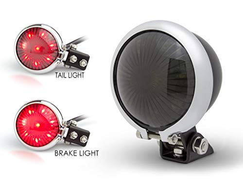 Noir LED Moto Arrêter & Feu Arrière avec Cadre Chromé pour Rétro Vintage Personnalisé Projet