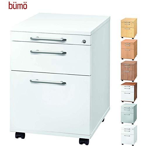 bümö® Rollcontainer mit 2 Schüben & Schloss   Bürocontainer aus Holz   Tischcontainer mit Hängeregistratur   in 6 Dekoren (Weiß)