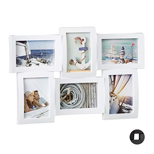 Relaxdays 10021998_49 Cornice Multifoto per più Foto, Portafoto Multiplo per 6 Fotografie con Effetto 3D da Appendere Bianco, plastica