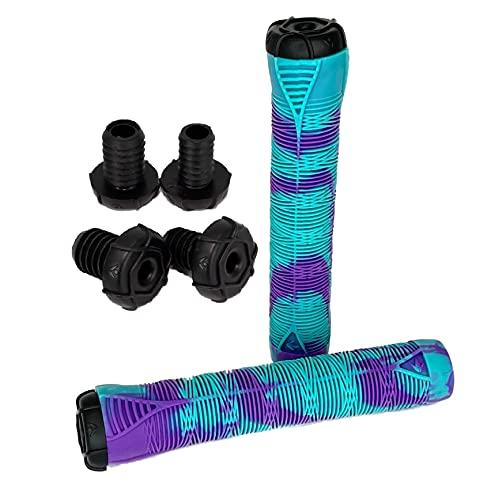 Blunt Envy - Empuñaduras para patinete BMX Dirt Roller (2 x 2 extremos de barra, incluye pegatinas Fantic26), color turquesa y morado