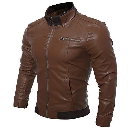 Batnott Herren Herbst Winter Casual Motorrad Faux Lederjacke Winddicht Outwear Slim Fit Tops Männer Coole Jacke Stylische Pelz Mantel Schmale Passform