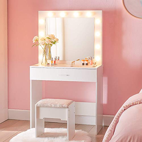 Cozy Castle Vanity Set with Lighted Mirror, Makeup Vanity Dressing Table with Large Drawer for Bedroom, Vanity Desk with 3 Color Lighting Modes, Vanity Table with Cushioned Stool Set