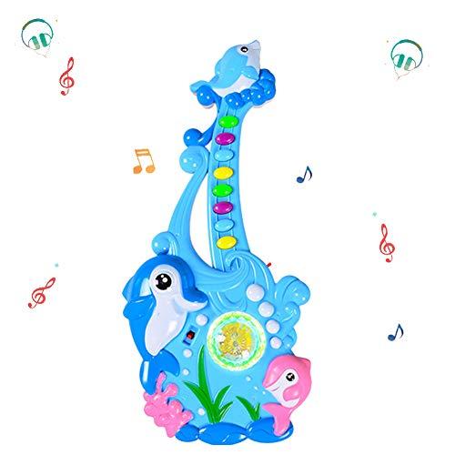YQZ Kinder elektronische Musik Gitarre Spielzeug Baby Cartoon Delphin Musikinstrument Spielzeug Kinderlied Tastatur Schlaf Licht,Blau