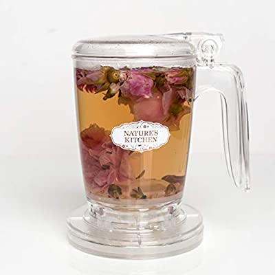 NATURE'S MARKET : Tea/coffee steeper, tea infuser, teapot, bottom dispensing with coaster - 15.2 oz, 450 ml, easy to clean, durable