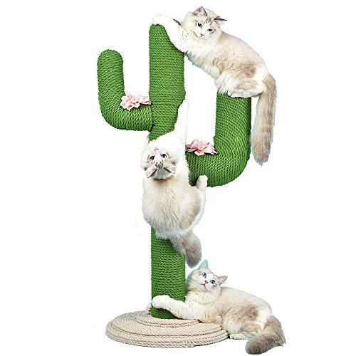 QIZIFAFA Torre De Árbol para Gatos, Columpio para Gatos, En Forma De Cactus, Poste De Escalada para Gatos Centro De Actividades para Gatos Cómodo Four Seasons Universal Pet Bedding,Verde