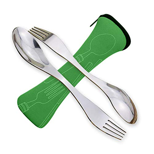 Pack of 2 Portable Stainless Steel Sporks Camping Portable Cutlery
